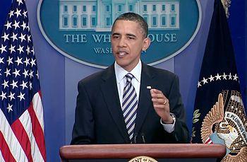 English: U.S. President Barack Obama speaks to...