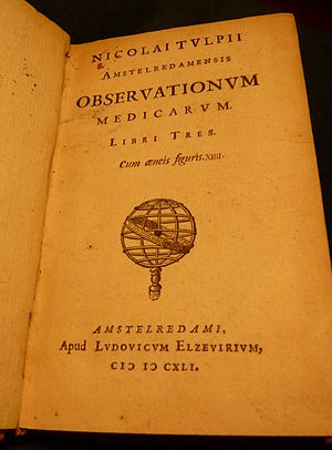 Observationes Medicae (Tulp) -  Title page from Prof. Tulp's 1641 book, published by Lodewijk Elzevir.