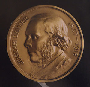 Lister Medal - Obverse of the Lister Medal, with a representation of a bust of Lord Lister