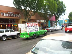 Olympia Hempfest - Pickup truck with sign advertising the 2007 Hempfest