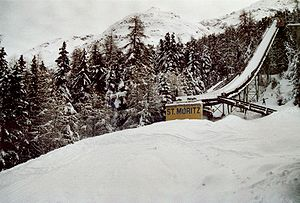 1948 Winter Olympics - The Olympiaschanze ski jump hill in St. Moritz