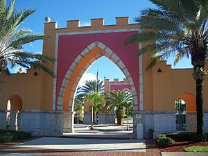 Opa-locka, Florida - An Arab-inspired plaza entrance