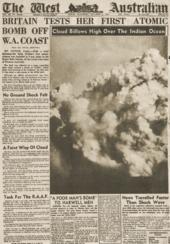 Un giornale australiano annuncia il primo test britannico dell'operazione Hurricane