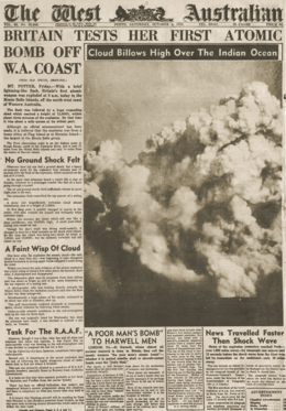 "Front page of The West Australian newspaper for 4 October 1952; the headline reads ""Britain test her first atomic bomb off W.A. coast"""
