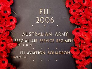 Operation Quickstep - The section of the roll of honour at the Australian War Memorial commemorating the two Australian Army personnel killed during Operation Quickstep