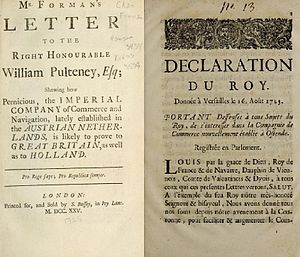 "Ostend Company - Treaties condemning the Ostend Company as ""pernicious"" to both British and Dutch interests (left) and a 1723 law forbidding French subjects from investing in the company (right)."