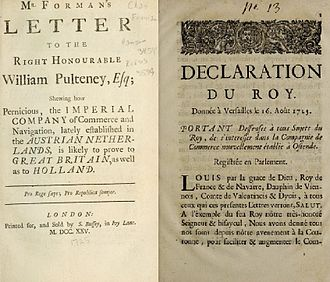 """Ostend Company - Treaties condemning the Ostend Company as """"pernicious"""" to both British and Dutch interests (left) and a 1723 law forbidding French subjects from investing in the company (right)."""