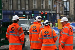East London line extension - Balfour Beatty/Carillion contractors on-site at Shoreditch