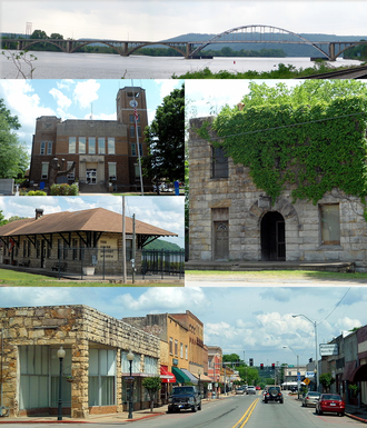 Ozark, Arkansas - Clockwise, from top: Highway 23 bridge over the Arkansas River, historic Franklin County Jail, Ozark Courthouse Square Historic District, Ozark Depot, Franklin County Courthouse