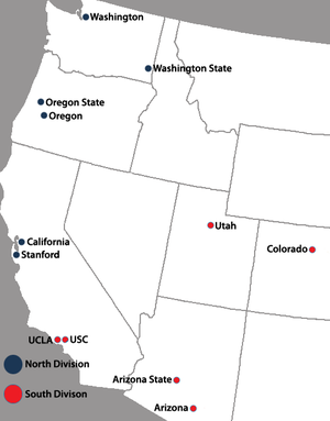 Pac-12 Conference - Locations of current Pac-12 Conference full member institutions.