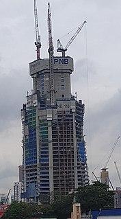 PNB 118 skyscraper under construction in Kuala Lumpur, Malaysia