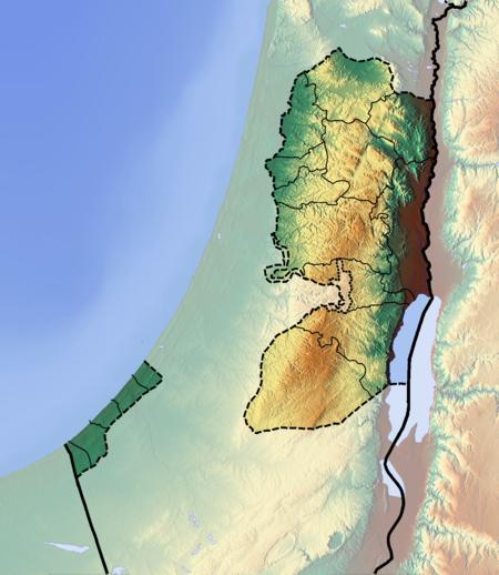 المسجد الإبراهيمي على خريطة الضفة الغربية وقطاع غزة