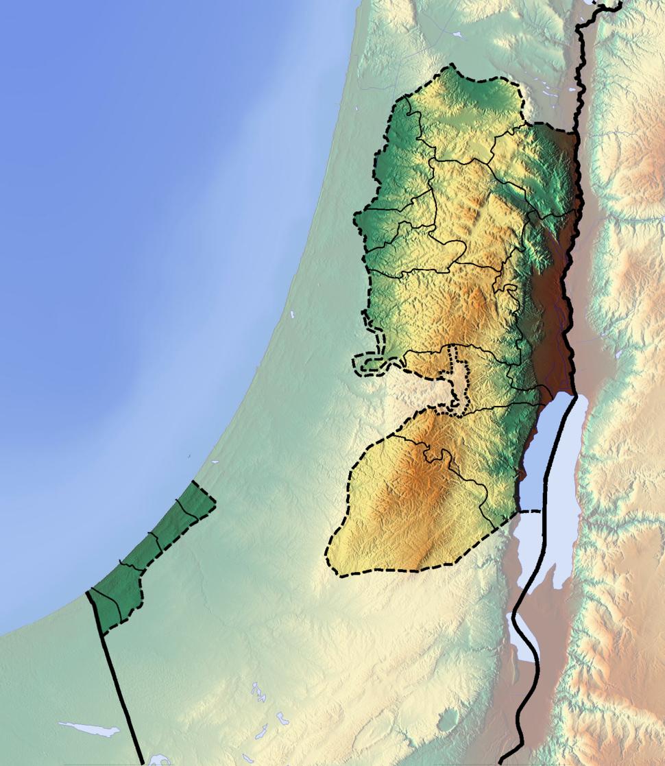 Palestine location map Topographic