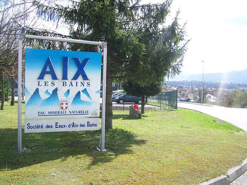 Sign of Société des Eaux d'Aix-les-Bains on the water production site in Aix-les-Bains, Savoie, France.