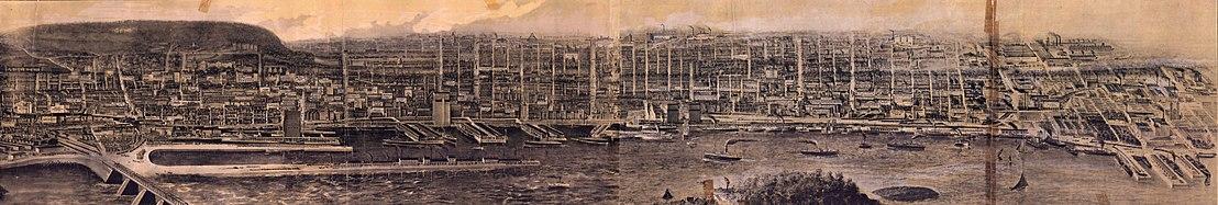 Vue panoramique de Montréal en 1906, depuis le fleuve Saint-Laurent au sud, montrant les principales industries et le port, ainsi que les rues et les habitations. Cette vue s'étend de la rue Letourneux à l'est jusqu'au chemin de fer du Grand Tronc (pont Victoria) à l'ouest.