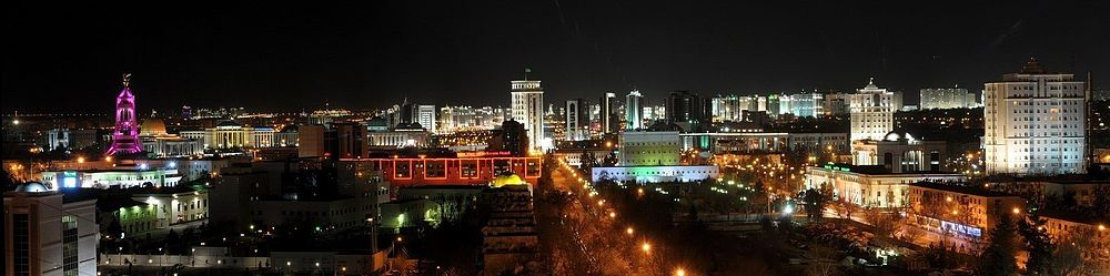 Ночная панорама города Ашхабада