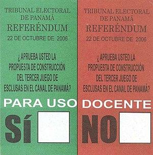 Panama Canal expansion referendum, 2006 - Referendum ballot