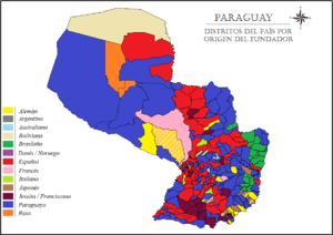 Immigration to Paraguay - Map of Paraguay indicating the origin of the founders of the different districts in the country by colour.