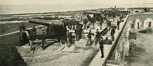 3rd Rhode Island Heavy Artillery - The 3rd Rhode Island Heavy Artillery at drill in the captured and repaired Fort Pulaski, Georgia in 1863.