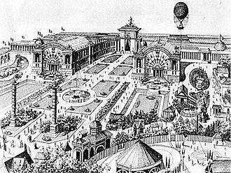 Cinquantenaire - The inauguration of the Park at the 1880 National Exhibition. Notice the substitute arch, the intact southern Bordiau wing, Quenast Columns and frontmost fountain.