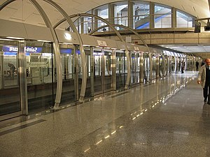 Metro station - Every station of the Paris Métro Line 14 in France has automatic platform screen doors