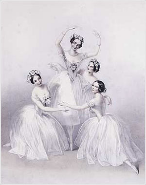 Romantic ballet -  Lithograph by A. E. Chalon of Carlotta Grisi (left), Marie Taglioni (center), Lucille Grahn (right back), and Fanny Cerrito (right front) in the Perrot/Pugni Pas de Quatre, London, 1845. The premiere of the Pas de Quatre is considered to be the Romantic ballet at its zenith.