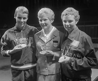 Diving at the 1960 Summer Olympics - Left-right: Paula Jean Myers-Pope, Ingrid Krämer and Elizabeth Ferris at the 1960 Olympics