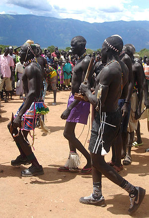 Comprehensive Peace Agreement - Dancers in Kapoeta at an awareness building rally for the peace agreement, 2006