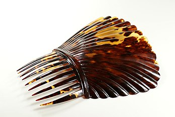 Photograph of a decoratively ridged comb made of tortoiseshell