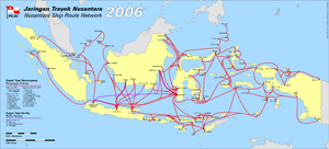 MV Senopati Nusantara - Map of ship transportation in Indonesia; the ill-fated ship route, Kumai-Semarang, is shown in the map (click to enlarge).