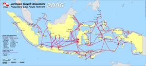 Морские пути национальной судоходной компании Индонезии.