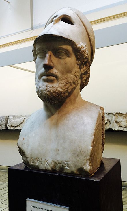 Greek statesman Pericles' vision of Athenian democracy stressed a sense of what he saw as core ideals, particularly the intelligence and tolerance displayed by Athenians. Pericles.jpg