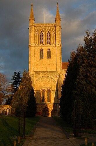 Pershore Abbey - Image: Pershore Abbey in winter sun