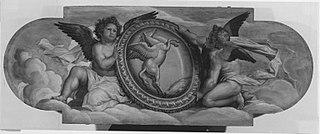 Zwei Engel mit Pegasus-Schild