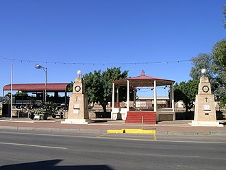 "Peterborough, South Australia - A ""Y"" Class number 82 Locomotive situated alongside the rotunda in the main street of Peterborough"