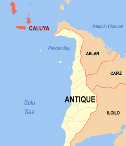 Mapa ti Antique a mangipakita ti lokasion ti Caluya, Antique.