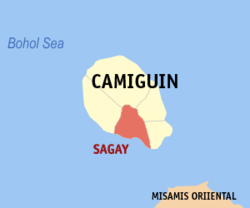 Map of Camiguin with Sagay highlighted