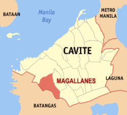 Map of Cavite showing the location of Magallanes
