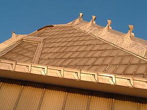 Beth Sholom Congregation (Elkins Park, Pennsylvania) - The roof of Beth Sholom Synagogue at sunset.