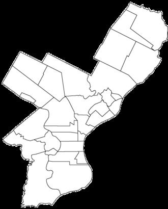 Philadelphia County, Pennsylvania - Map of Philadelphia County, Pennsylvania (pre-consolidation)