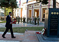Philip Hammond, left, the British secretary of state for defense, prepares to place a wreath during a Remembrance Day ceremony at International Security Assistance Force Headquarters in Kabul, Afghanistan 131111-A-UO630-017.jpg