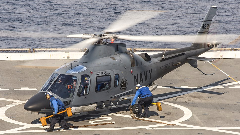 Philippine navy AW109 during flight operations aboard the USS Green Bay