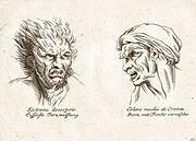 """Tipica illustrazione di un libro ottocentesco sulla fisiognomica (a sinistra: """"profonda disperazione""""; a destra: """"collera mischiata con paura"""")"""