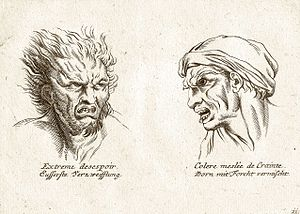 Rage (emotion) - Artist's sketches that show two types of extreme emotions; the right illustration shows rage mixed with fear.