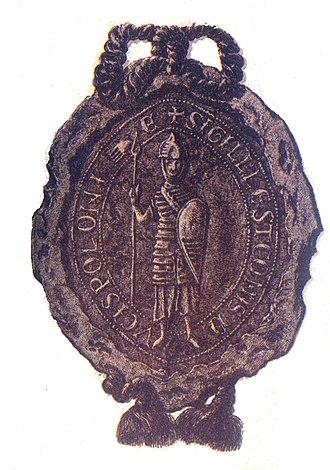 """Leszek the White - Seal of Leszek Biały (Leszek I, """"the White""""), Front side."""