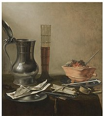 Still Life with a Pewter Jug, a Passglass, a 'Vuurtest' and Smoker's Pipe