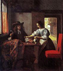 Homme avec un verre et une femme avec une cruche dans un intérieur