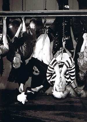 Pigface - Members of Pigface in 1991 in Palo Alto, California; left to right: Chris Connelly, Nivek Ogre, Martin Atkins