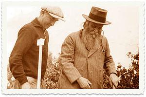 Yehoshua Hankin - Yehoshua Hankin (right) at a tree planting ceremony in the Jezreel Valley