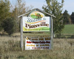 Pittsville, Wisconsin - Welcome sign on WIS 73 / WIS 13